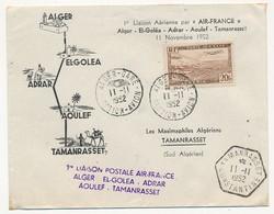 """ALGERIE - Enveloppe """"1ere Liaison Postale Air France Alger / El Golea / Adrar / Aoulef / Tamanrasset"""" - 1952 - Algérie (1924-1962)"""