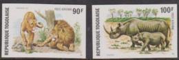 TOGO - 1974 IMPERF Animals. Scott C236-237. MNH ** - Togo (1960-...)