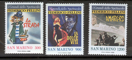 SAN MARINO 1988 Federico Fellini Film Posters Scott Cat. No(s). 1157-1159 MNH - San Marino