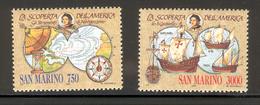 SAN MARINO 1991 Discovery Of America-Christopher Columbus Scott Cat. No(s).  1230-1231 MNH - Christopher Columbus