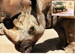 """"""" RHINOCEROS """" Sur Carte Maximum Du PORTUGAL De 1984 - Rinocerontes"""