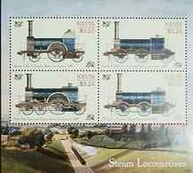 RL) 2014 NEVIS, STEAM LOCOMOTIVES, TRAINS, 3.25C, NATURE, SOUVENIR SHETT, MNH - St.Kitts And Nevis ( 1983-...)