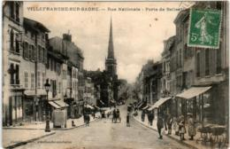 5THS 232 CPA - VILLEFRANCHE SUR SAONE - RUE NATIONALE - PORTE DE BELLEVILLE  (ATTENTION, PETITE INCISION) - Villefranche-sur-Saone