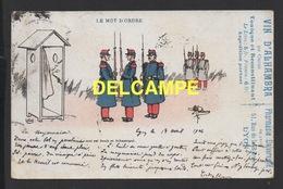 DD / MILITARIA / CARTE D' ILLUSTRATEUR / RELÉVE DE LA GARDE : LE MOT D' ORDRE / 1904 - Militaria