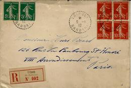 1912- Enveloppe RECC. De TRIPOLI / BARBARIE  Cad 1 Cercle Point. Affr. Bloc De 4 Semeuse 10 C + Paire Semeuse 5 C - Postmark Collection (Covers)