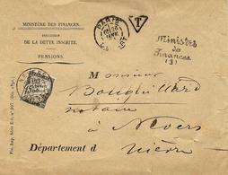 1894- Enveloppe Du Ministère Des Finances Export Du Simple Taxe  Affr. 15 C Taxe à Nevers - Marcophilie (Lettres)