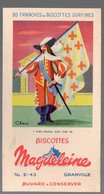 Granville (50 Manche) Buvard BISCOTTES MAGDELEINE  Drapeaux N°3: Louis XIII   (PPP18077) - Zwieback
