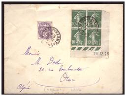 Semeuse N° 159 Bloc De 4 Coin Daté +233 Sur Lettre Secteur Postal 77 Pour ORAN ( ALGERIE) Du 23.12.28. - Briefe U. Dokumente