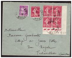 Semeuse N° 278B Bloc De 4 Coin Daté +1 + Paix Sur Lettre De VANNES Pour FONTAINEBLEAU Du 1.7.38. - Frankreich
