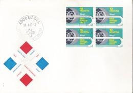 1967 - SVIZZERA - 10c. AIUTO AI CIECHI - BUSTA CON QUARTINA. - Svizzera