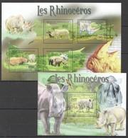 P074 2011 CENTRAL AFRICA CENTRAFRICAINE FAUNA ANIMALS LES RHINOCEROS 1KB+1BL MNH - Rhinocéros