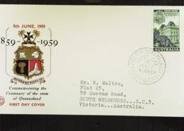 Australien: FDC-Brief Vom 5.6.59 Queensland 1859 - 1959 - 1952-65 Elizabeth II: Dezimalausgaben (Vorläufer)