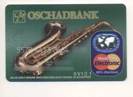 Credit Card Music Saxophone Bankcard Oschadbank Bank UKRAINE MasterCard Expired - Carte Di Credito (scadenza Min. 10 Anni)