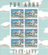 Svizzera, Suisse, 1988 Minifoglio 50° Fondazione Svizzera Pro Aereo, Con Annullo F.D.C. - Blocchi & Foglietti