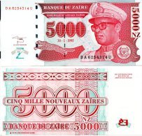 ZAIRE 5000 N. Zaires 1995 HdMZ P-69 **UNC** - Zaire