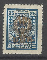 Lituania - 1924 - Nuovo/new MH - Sovrastampati - Mi N. 230 - Litauen