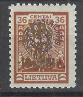 Lituania - 1924 - Nuovo/new MH - Sovrastampati - Mi N. 231 - Lituania