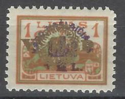 Lituania - 1924 - Nuovo/new MH - Sovrastampati - Mi N. 234 - Lituania