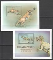 P097 COMORES PREHISTORIC ANIMALS DINOSAURS CERATOSAURUS 2BL MNH - Timbres
