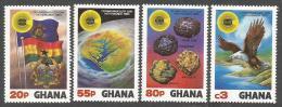 Ghana 1983 Gold Bauxite Diamond Iron Ore Minerals Fish Eagle Flag Commonwealth Michel 964-7 Set - Mineralen