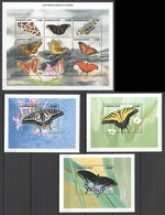 P106 BURKINA FASO BUTTERFLIES LES PAPILLONS DU MONDE 1KB+3BL MNH - Papillons