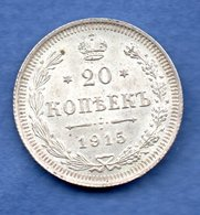 Russie  - 20 Kopeks 1915   --  Km # 22a2     état SUP - Russia