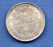 Russie  - 10 Kopeks 1915   --  Km # 20a3     état SPL - Russia