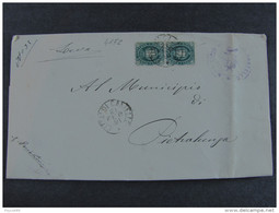 """4172 ITALIA Regno-1889- """"Stemma"""" C. 5 Coppia CITTA' DI CASTELLO>PIETRALUNGA (descrizione) - 1878-00 Umberto I"""