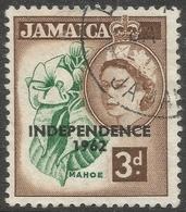 Jamaica. 1963-64 Independence Overprints. 3d Used. Block Script CA W/M SG 208 - Jamaica (1962-...)