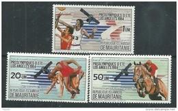 Mauritanie  N° 535 / 37 XX  Préolympiques D'été- Los Angeles 1984. Les 3  Valeurs Sans Charnière, TB - Mauritanie (1960-...)
