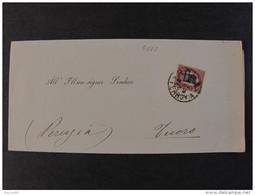 """4102 ITALIA Regno-1878- """"Ondine"""" C. 2 Su 1,00 ROMA>TUORO (descrizione) - 1861-78 Vittorio Emanuele II"""