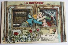 CPA Illustrateur Duo D'amour La Bretagne Coiffe Costume Folklore écrite De Louvigné - Costumi