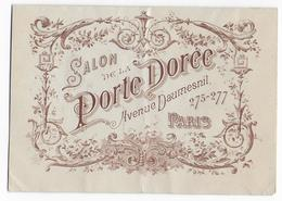 MENU - Salon De La PORTE DOREE - Avenue Daumesnil  à Paris - 1903 - Menu