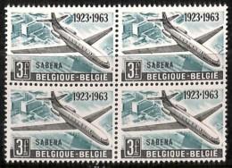 D - [205128]BELGIQUE 1963 - N° 1259-v5e, SABENA, Avion, Carlingue Griffée à L'arrière (les 2 Timbres Du Bas), Dans Un BD - Variedades Y Curiosidades