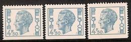 D - [205364]BELGIQUE 1975 - N° 1763, 4F50 Turquoise, Elstrom, Du Carnet 12, Dentelé Sur 3 Côtés , En 3 Nuances - 1970-1980 Elström