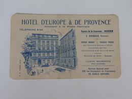 Carte De Visite De L'hôtel D'Europe & De Provence E. Fischbach Propriétaire Square De La Couronne à Nimes (11). - Cartes De Visite