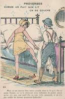 Militaria : Humoristique : Soldat Avec Sa Femme,ou Une Prostituée Montant Dans Le Lit Comme On Fait Son Lit On Se Couche - Humour