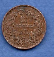 Luxembourg  - 2 1/2 Centimes 1908    --  Km # 21    état TTB - Luxembourg