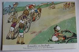 CPA Illustrateur Cylisme La Montée En Danseuse Humour Enfants - Cycling
