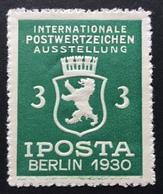 BERLIN 1930 IPOSTA KI TERNATIONALE POSTWERTZEICHEN  AUSSTELLUNG - Erinnofilia