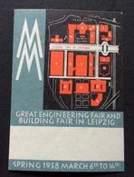 LEIPZIG LIPSIA  1938 GREAT ENGINEERING FAIR AND BUILDING FAIR  SPRING 1938 - Erinnofilia