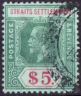 STRAITS SETTLEMENTS 1918 KGV $5 Green & Red/Blue-Green, Olive SG212b FU - Straits Settlements