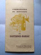 Menu Commanderie Du Bontemps De Sauternes Barsac Mole D'escale La Rochelle Pallice  24 Juin 1961 - Menus