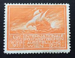 WIPA 1933 INTERNATIONALE POSTWERTZEICHEN AUSSTELLUNG  WIEN 1933  VELIERO - Erinnofilia