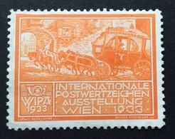 WIPA 1933 INTERNATIONALE POSTWERTZEICHEN AUSSTELLUNG  WIEN 1933  DILIGENZA A 4 CAVALLI - Erinnofilia