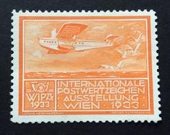 WIPA 1933 INTERNATIONALE POSTWERTZEICHEN AUSSTELLUNG  WIEN 1933  AEREO - Erinnofilia