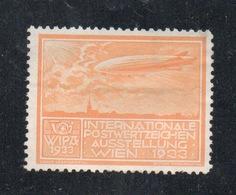 WIPA 1933 INTERNATIONALE POSTWERTZEICHEN AUSSTELLUNG  WIEN 1933  ZEPPELLIN - Erinnofilia