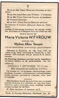 Doodsprentje Witvrouw Maria Wed Deruyter Alfons °1893 Kapellen Glabbeek +1954 Tienen Strouwen Willems Bouvin Piccart - Décès