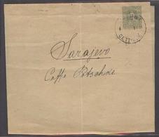 MONTENEGRO. 1908 (14 Oct). Cettigne - Sarajevo / Bosnia. 5 Para Green Stat Wrapper Cds. Backstamped. Scarce. - Montenegro