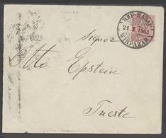 MONTENEGRO. 1903 (21 Jan). Wirpazar - Triest (25 Jan). 10 Para Red Stat Env Cds. Back Stamped. Very Scarce Item. - Montenegro